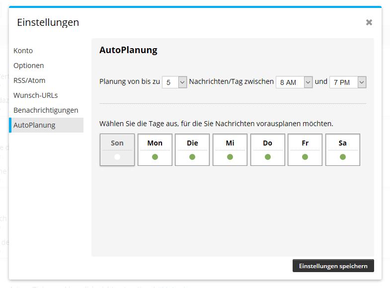 hootsuite autoplanung auf deutsch