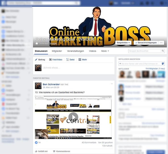 Online Marketing Boss Facebook Insidergruppe